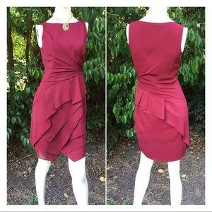 Burgundy Maroon Draped Layered Sleeveless Dress